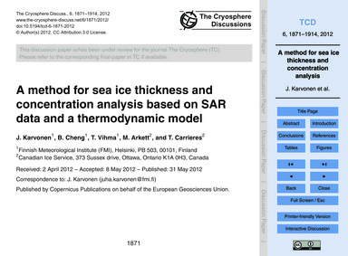 A Method for Sea Ice Thickness and Conce... by Karvonen, J.