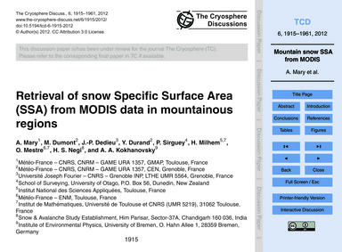 Retrieval of Snow Specific Surface Area ... by Mary, A.