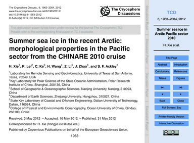 Summer Sea Ice in the Recent Arctic: Mor... by Xie, H.