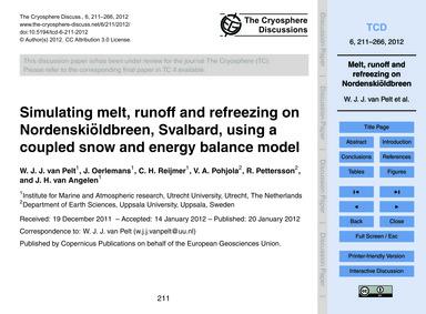 Simulating Melt, Runoff and Refreezing o... by Van Pelt, W. J. J.