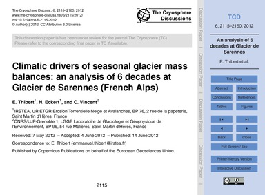 Climatic Drivers of Seasonal Glacier Mas... by Thibert, E.
