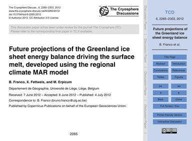 Future Projections of the Greenland Ice ... by Franco, B.