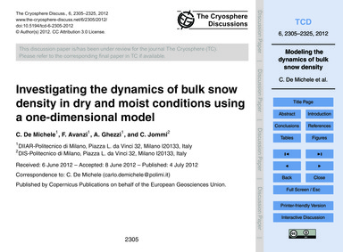 Investigating the Dynamics of Bulk Snow ... by De Michele, C.