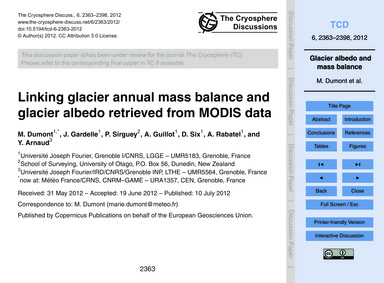 Linking Glacier Annual Mass Balance and ... by Dumont, M.