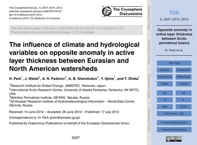 The Influence of Climate and Hydrologica... by Park, H.