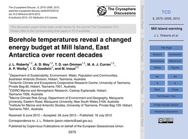 Borehole Temperatures Reveal a Changed E... by Roberts, J. L.