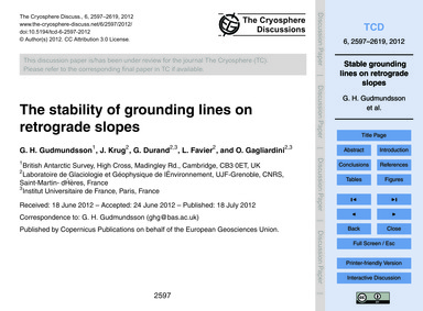 The Stability of Grounding Lines on Retr... by Gudmundsson, G. H.