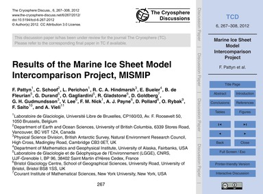 Results of the Marine Ice Sheet Model In... by Pattyn, F.