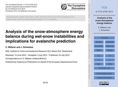 Analysis of the Snow-atmosphere Energy B... by Mitterer, C.