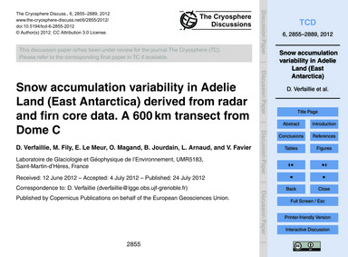 Snow Accumulation Variability in Adelie ... by Verfaillie, D.