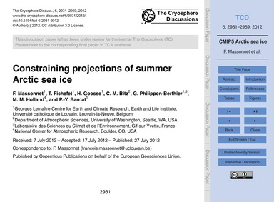 Constraining Projections of Summer Arcti... by Massonnet, F.
