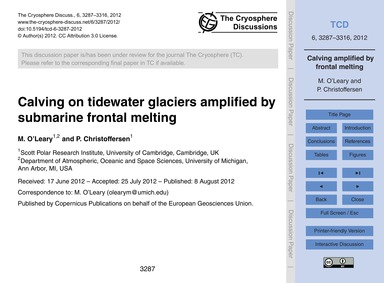 Calving on Tidewater Glaciers Amplified ... by O'Leary, M.