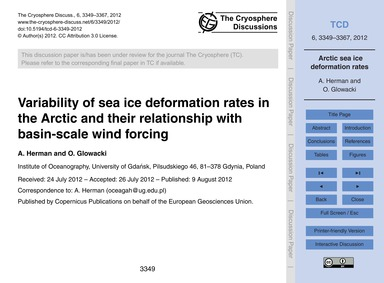 Variability of Sea Ice Deformation Rates... by Herman, A.