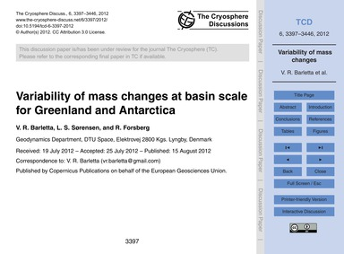 Variability of Mass Changes at Basin Sca... by Barletta, V. R.