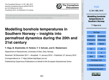 Modelling Borehole Temperatures in South... by Hipp, T.