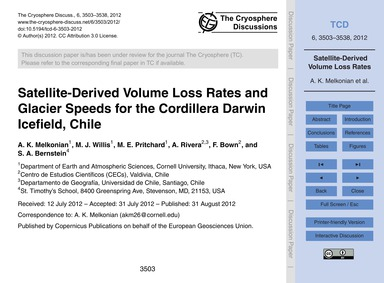 Satellite-derived Volume Loss Rates and ... by Melkonian, A. K.