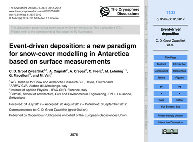 Event-driven Deposition: a New Paradigm ... by Groot Zwaaftink, C. D.