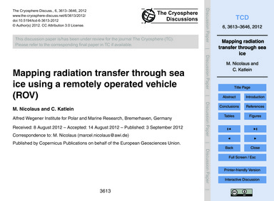 Mapping Radiation Transfer Through Sea I... by Nicolaus, M.