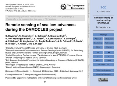 Remote Sensing of Sea Ice: Advances Duri... by Heygster, G.