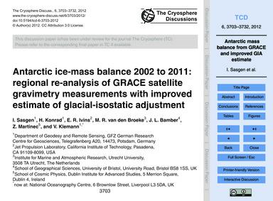 Antarctic Ice-mass Balance 2002 to 2011:... by Sasgen, I.