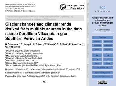 Glacier Changes and Climate Trends Deriv... by Salzmann, N.