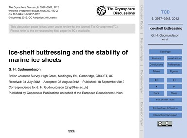Ice-shelf Buttressing and the Stability ... by Gudmundsson, G. H.