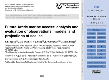 Future Arctic Marine Access: Analysis an... by Rogers, T. S.