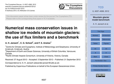 Numerical Mass Conservation Issues in Sh... by Jarosch, A. H.