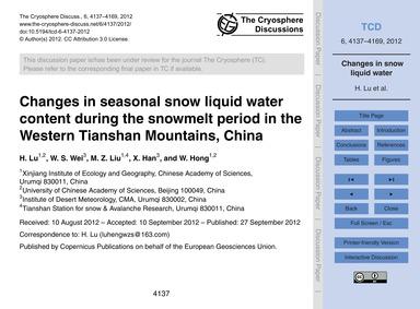 Changes in Seasonal Snow Liquid Water Co... by Lu, H.