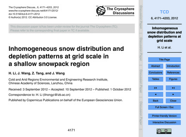 Inhomogeneous Snow Distribution and Depl... by Li, H.