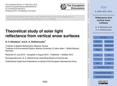 Theoretical Study of Solar Light Reflect... by Nikolaeva, O. V.