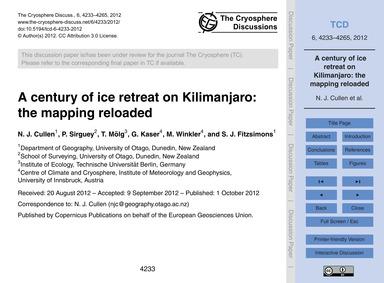 A Century of Ice Retreat on Kilimanjaro:... by Cullen, N. J.