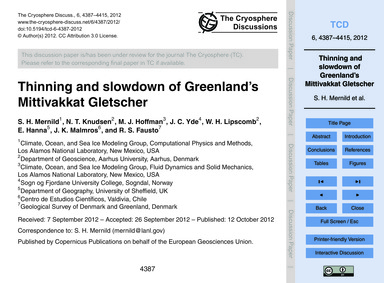 Thinning and Slowdown of Greenland's Mit... by Mernild, S. H.