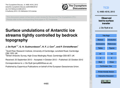 Surface Undulations of Antarctic Ice Str... by De Rydt, J.