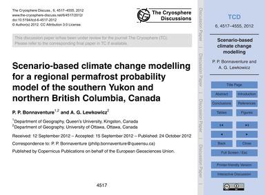 Scenario-based Climate Change Modelling ... by Bonnaventure, P. P.