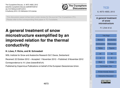 A General Treatment of Snow Microstructu... by Löwe, H.