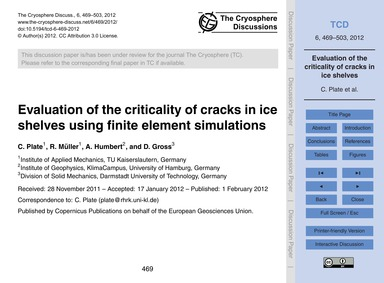 Evaluation of the Criticality of Cracks ... by Plate, C.