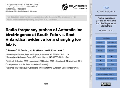 Radio-frequency Probes of Antarctic Ice ... by Besson, D.