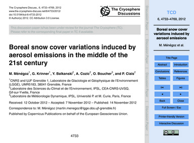 Boreal Snow Cover Variations Induced by ... by Ménégoz, M.