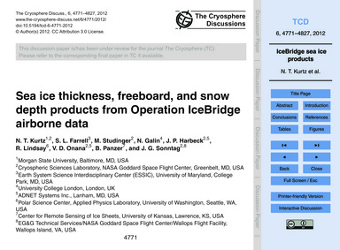 Sea Ice Thickness, Freeboard, and Snow D... by Kurtz, N. T.