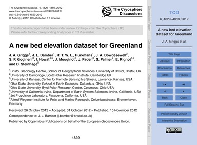 A New Bed Elevation Dataset for Greenlan... by Griggs, J. A.