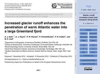 Increased Glacier Runoff Enhances the Pe... by Sole, A. J.