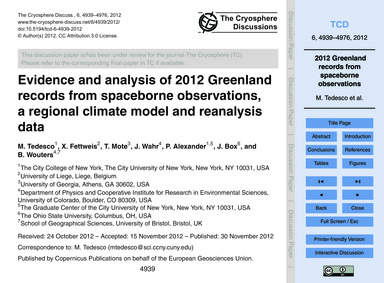 Evidence and Analysis of 2012 Greenland ... by Tedesco, M.