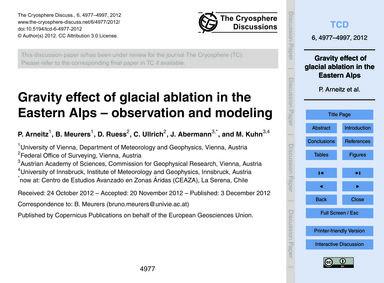 Gravity Effect of Glacial Ablation in th... by Arneitz, P.
