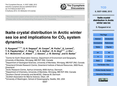 Ikaite Crystal Distribution in Arctic Wi... by Rysgaard, S.