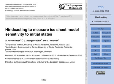 Hindcasting to Measure Ice Sheet Model S... by Aschwanden, A.