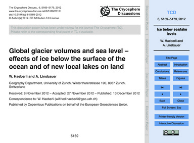 Global Glacier Volumes and Sea Level – E... by Haeberli, W.