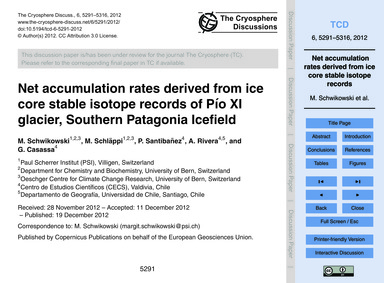 Net Accumulation Rates Derived from Ice ... by Schwikowski, M.