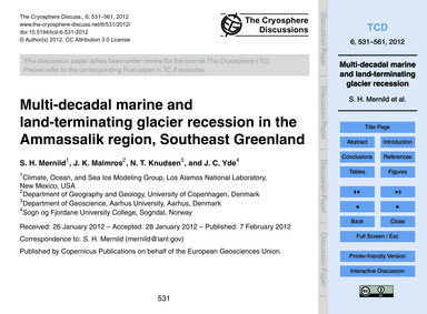 Multi-decadal Marine and Land-terminatin... by Mernild, S. H.