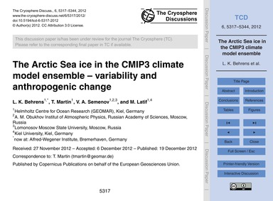 The Arctic Sea Ice in the Cmip3 Climate ... by Behrens, L. K.